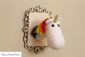 Rainbow Unicorn Taxidermy by karenscrochetcorner