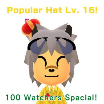 100 Watchers  Popular Hat Lv. 15 by GoldRaibowMario2