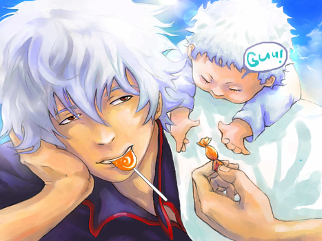 Gintoki and orange sweets by Muh-a