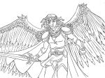 Archangel Michael lineart free to color by the-winter-girl