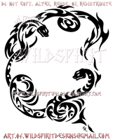 Dual Snakes - Fire And Ice Tribal Design by WildSpiritWolf