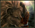 Lucy and Aslan by DarkRone