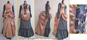 Black and gold Victorian Bustle daydress by giusynuno