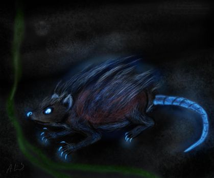Oddly glowing rat by 1sidedownand2up