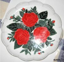 Plate with roses by CreazioniArtEC