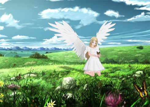 Anime Angel Girl with Butterflies by Vandarque