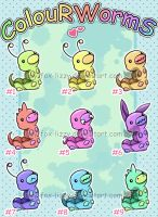 ColouR WormS - Adopts - CLOSED by Zusuriki