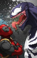 Deadpool vs Venom by xashe