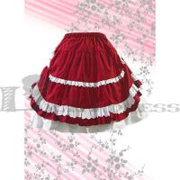 Cheap Multilayer White Lace Bow Red Lolita Skirt by haluson