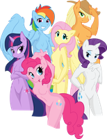 Anthro Mane 6 Vector by Fehlung