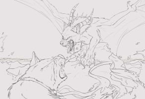 Battle of the beasts WIP by dragonicwolf