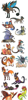 Lots of designs for sale part 4 by griffsnuff