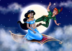 Jasmine and Peter Pan by Mareishon