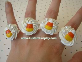Candy corn swirl rings by The-Cute-Storm