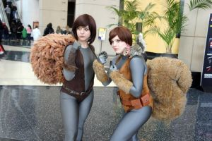 Squirrel Girls by BevanMaria