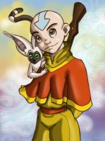 Aang and Momo Colored by MiraElizabeth
