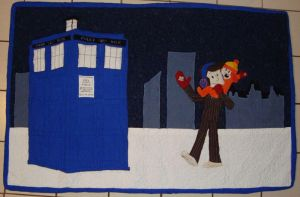 Doctor Who quilt front by wulfae