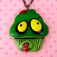 Zombie Cupcake Necklace by beatblack