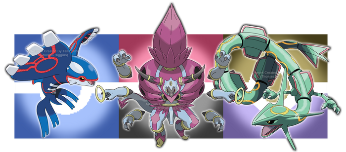 Kyogre, Hoopa Unbound and Rayquaza by Tails19950