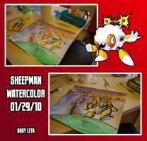 Sheepman Watercolor Process by rockmanzallz