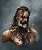 Bust of barbarian by CheshireFox64