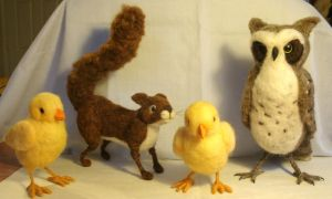 A gang of needle felted critters by JessieDockins