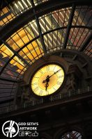 Clock of Keleti train station by Seth890603