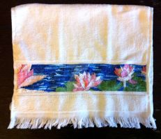 Water Lily Hand Towel by maria12256