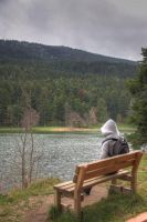 Lonely girl and the lake by hephahistos