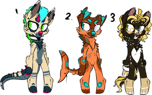 Funky Dog Auction! ALL SOLD by BlackBlooded-Adopts