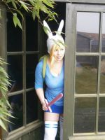 Fionna peeking trough the door by Lyra-May