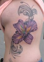 Purple flower on ribs by JakubNadrowski