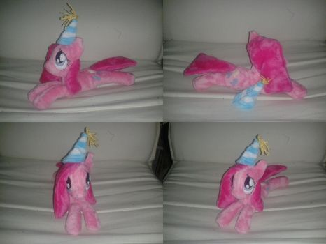 MLP FiM plushie - Pinkamena, lying + party hat! by vulpinedesigns