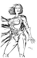 Power Girl inks by pycca