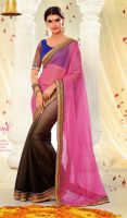 Pink-and-Saddle-Brown-Georgette-Silk-Half-N-Half-S by ethniclover