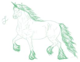 Line Horse green unicorn by Loheco