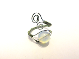 Adjustable Opalite Silver Wire Wrapped Ring by lovebirdcreations