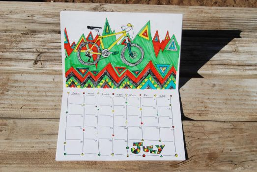 2013 Bicycle Coloring Calendar July by revolta