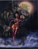 Huntress with werewolf sentry by ChuckWalton
