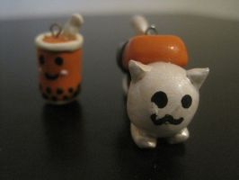 polymer clay cat and drink by ichigoluv