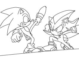 Sonic and Shadow-LineArt by thedangoking