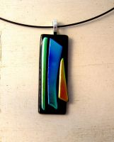 Minimalist Fused Glass Pendant Necklace by FusedElegance