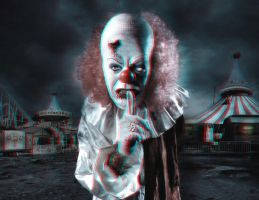 Scary Clown 3-D conversion by MVRamsey