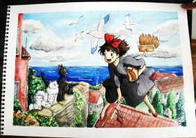 Kiki's Delivery Service Watercolors by Pyonni