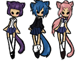 Schoolgirl Neko Adoptables [CLOSED] by Explodifirer
