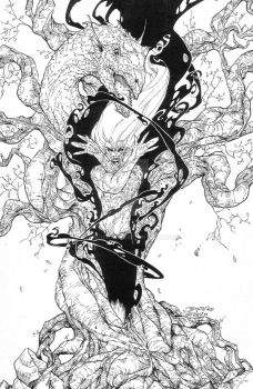 Burning Man #3 cover - Inks by DrewGeraci
