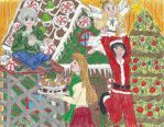 Honey and Clover Christmas Party by ChibiSunnie