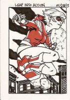 Leap Into Action (Sketch Card) by BenSteamroller