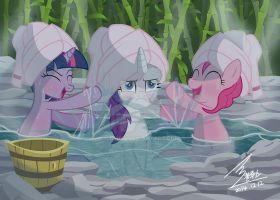 MLP Twilihgt and rarity and pinkypie  in spa by 0Bluse