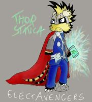 The lone ElectAvenger - Thor Statica by FeralSonic